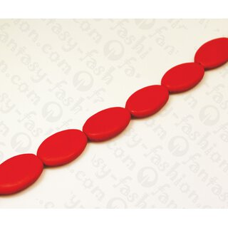 Nappa leather Flat Oval 35x25x8mm_Red