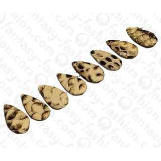 PY 061 Python leather Flat Teardrop 25x13x4mm Natural Matte/ 8pcs.