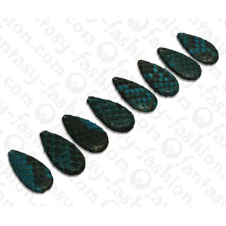Python Leder Flat Teardrop 35x20x4mm Navy Blue / 8pcs.