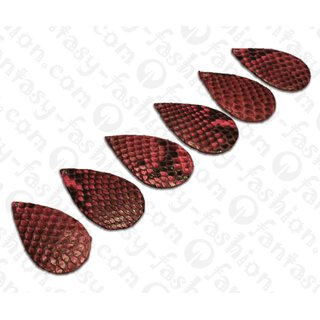 PY 089 Python leather Flat Teardrop 55x3mm Dark Pink / 6pcs.
