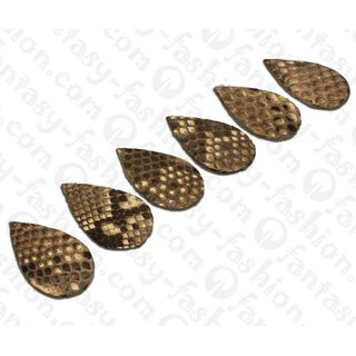PY 093 Python leather Flat Teardrop 55x3mm Natural Matte / 6pcs.