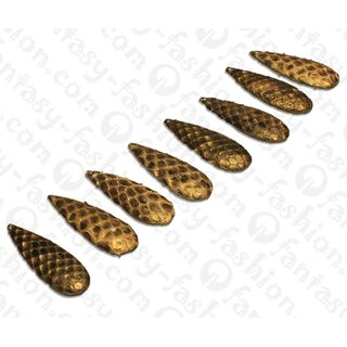 Python Leder Long Teardrop 63x20x8mm Gold / 8pcs.