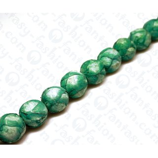 Fish leather Round Beads 20mm Green Matte