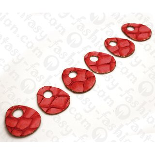 Fish leather Flat Teardrop with Calar and Gold 50x3mm Red Matte