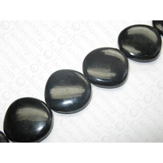 Horn Disk flat unregular round black ca. 30x9mm