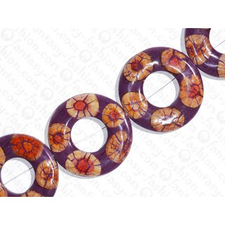 resin purple with santol cracking inlay donut 70x10mm hole 30mm
