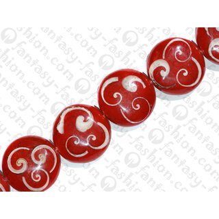 resin red with trocha shell curls UFO 35x12mm