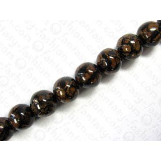 Black resin ball beads w. banlot inlay, ca. 25mm