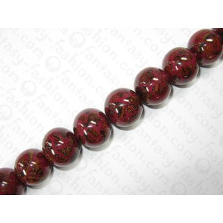 Resin ball beads w. banlot inlay, ca. 25mm