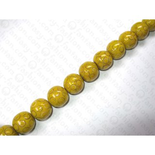 Yellow resin ball beads w. bamboo eye ca.25mm