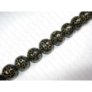 Black resin ball beads w. bamboo eye ca.25mm