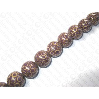 Flint resin ball beads w. bamboo eye ca.25mm