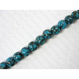 Turq. resin ball beads w. anay inlay, ca.18mm
