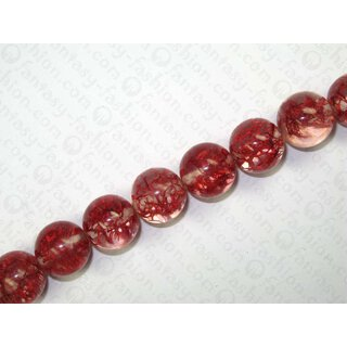 Resin-Ball w. texture inlay, red,ca.20mm
