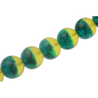 Harz Perlen with shell design yellow-green Round / 30mm / 14pcs.