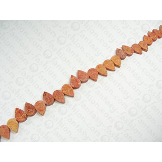 Apple coral stone beads flat drops  ca. 18x13mm / 1 String (40cm)